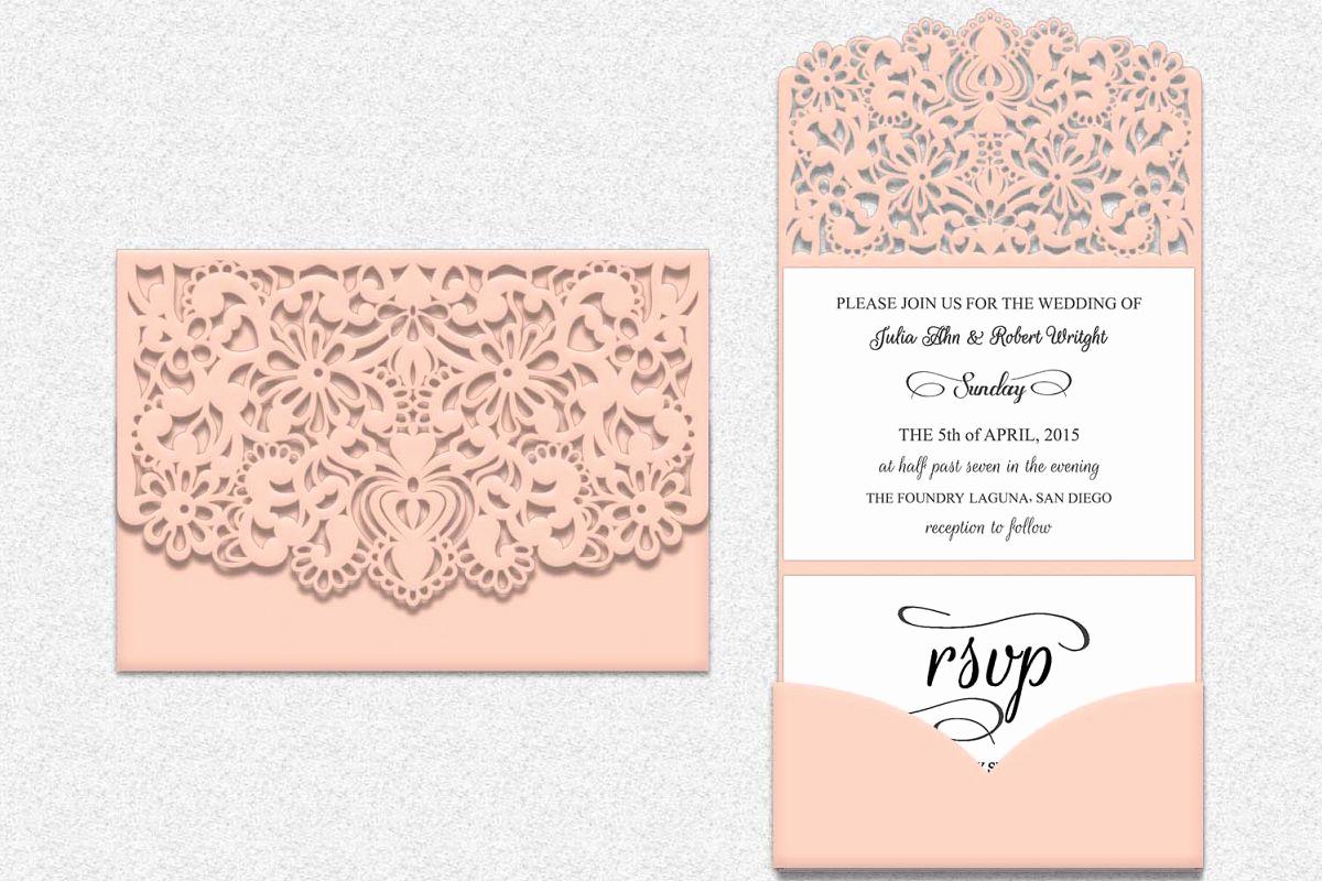 Free Wedding Invitation Svg Files Inspirational Tri Fold Lace Pocket Envelope Wedding Invitation Laser Cut