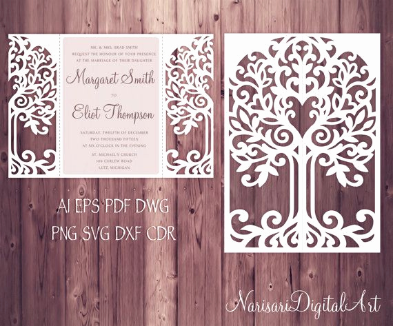 Free Wedding Invitation Svg Files Lovely Laser Cut Wedding Invitation Love Tree Card Template