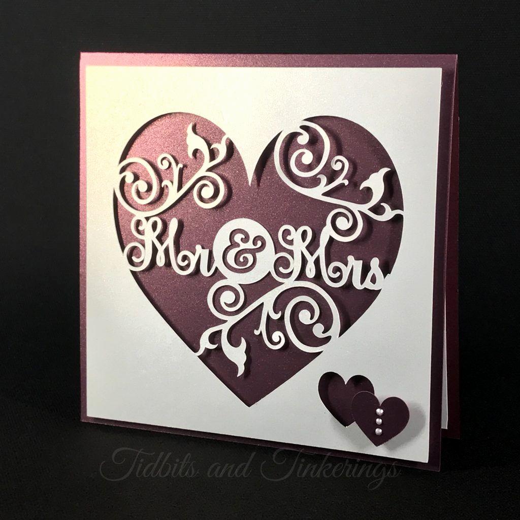 Free Wedding Invitation Svg Files New Mr & Mrs Heart Flourish Newlyweds Wedding Card