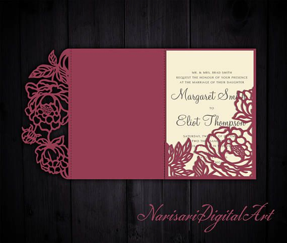Free Wedding Invitation Svg Files Unique Tri Fold Peonies 5x7 Wedding Invitation Pocket Envelope