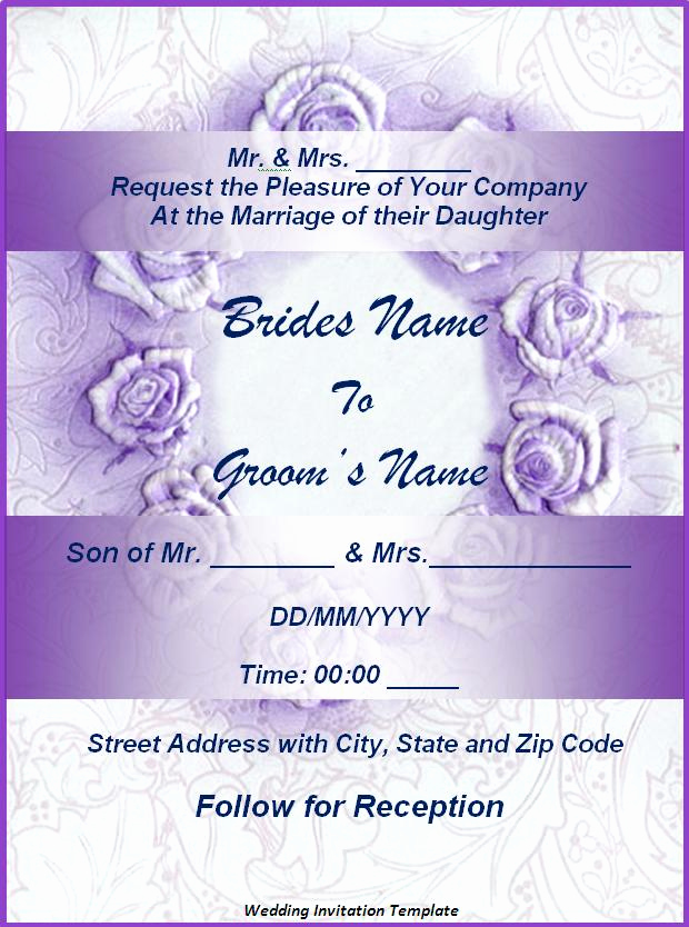 Free Wedding Invitation Templates Awesome Wedding Invitation format