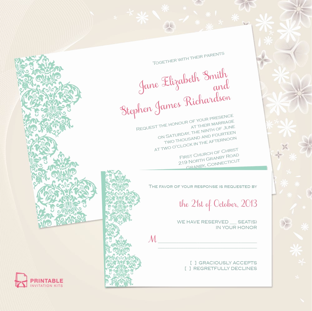 Free Wedding Invitation Templates Download Awesome Damask Border Wedding Invitation