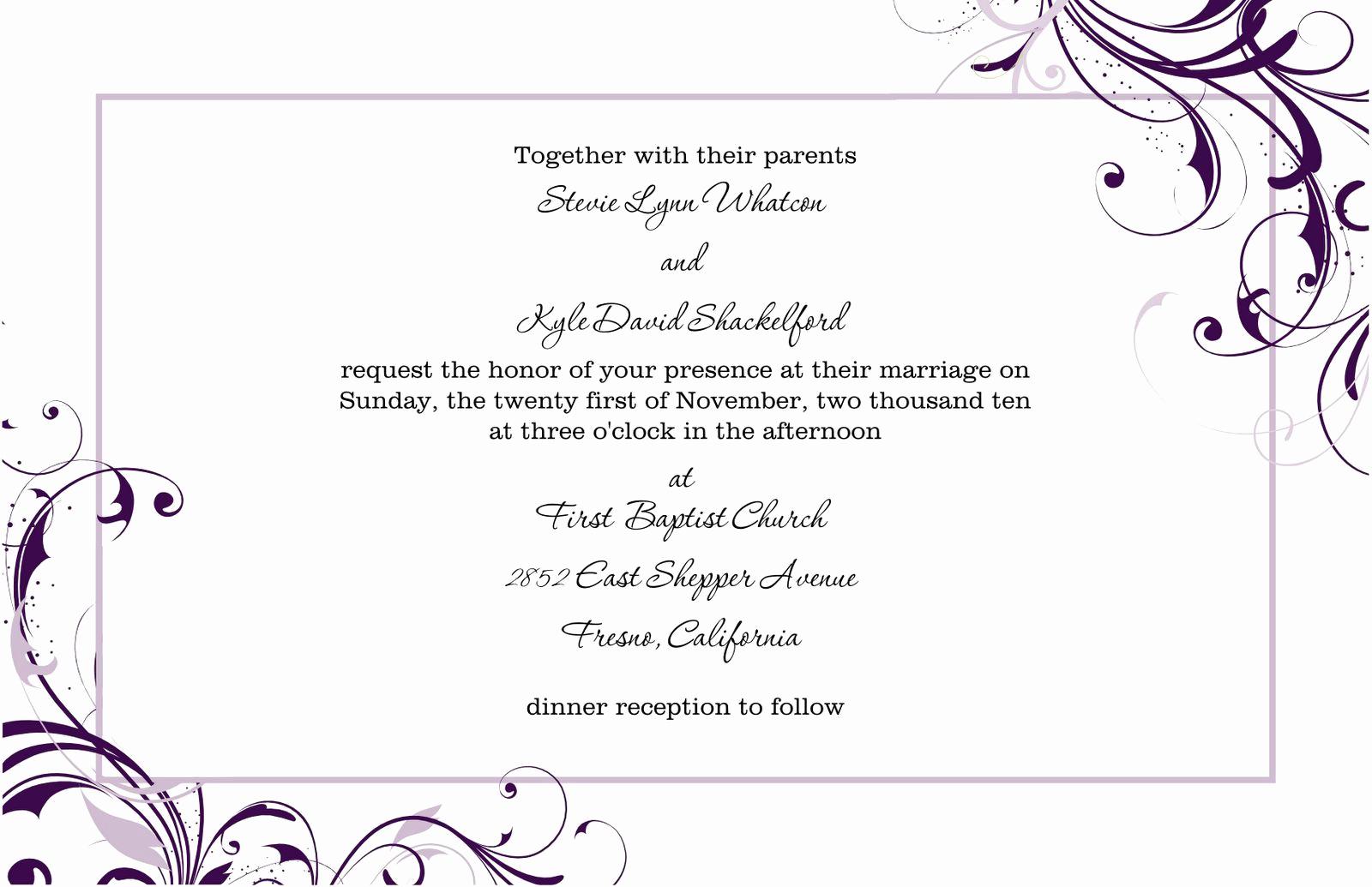 Free Wedding Invitation Templates Download Lovely Free Blank Wedding Invitation Templates for Microsoft Word
