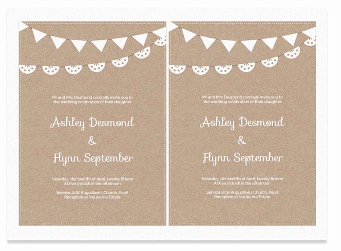 Free Wedding Invitation Templates Download Lovely Free Printable Wedding Invitation Template Kraft Paper