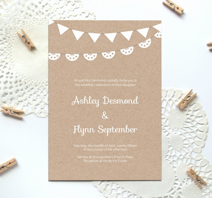 Free Wedding Invitation Templates Downloads Elegant Free Printable Wedding Invitation Template Kraft Paper