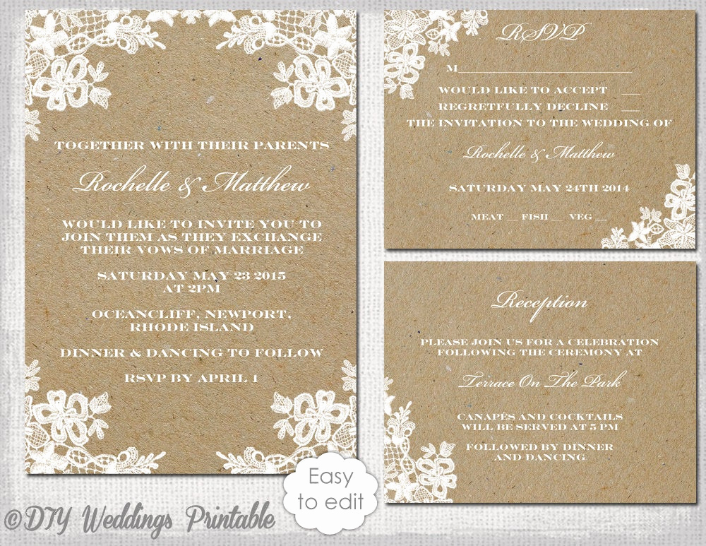 Free Wedding Invitation Templates Inspirational Rustic Wedding Invitation Set Diy Rustic Lace