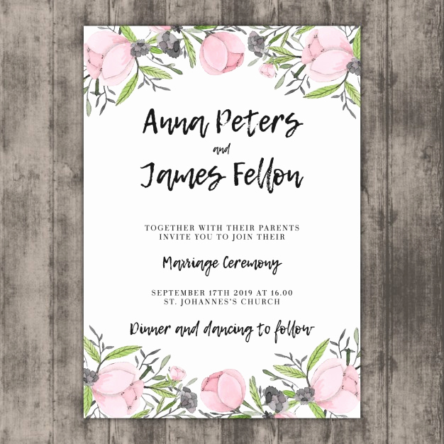 floral wedding invitation template on wood