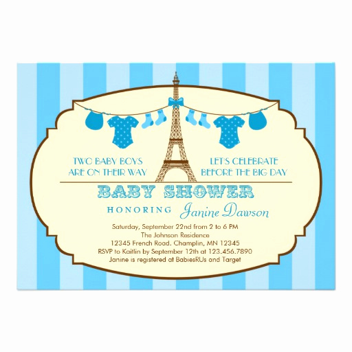 "French Baby Shower Invitation Awesome French Eiffel tower Twin Baby Shower Invitation 5"" X 7"