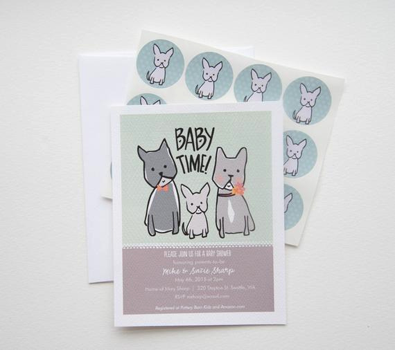 French Baby Shower Invitation Beautiful Baby Time French Bulldog Family Baby Shower Invitation Set