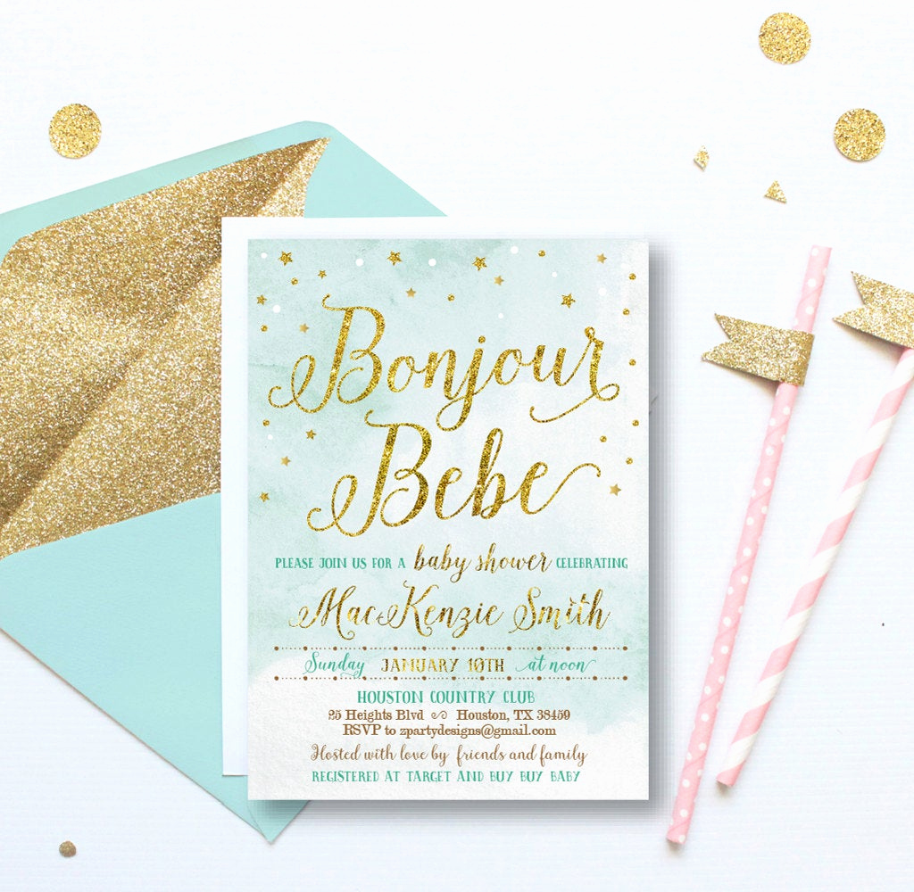 French Baby Shower Invitation Beautiful Gold Baby Boy Shower Invitation French Baby Shower
