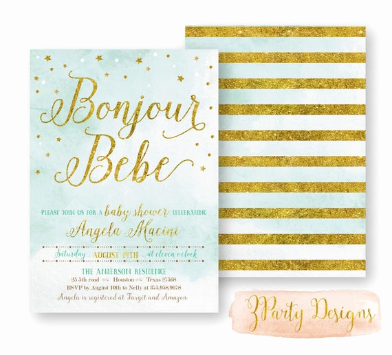 French Baby Shower Invitation Best Of French Baby Shower Invitation Aqua and Gold Baby by