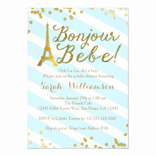 French Baby Shower Invitation Fresh Bonjour Bebe Boy French Baby Shower Invitation