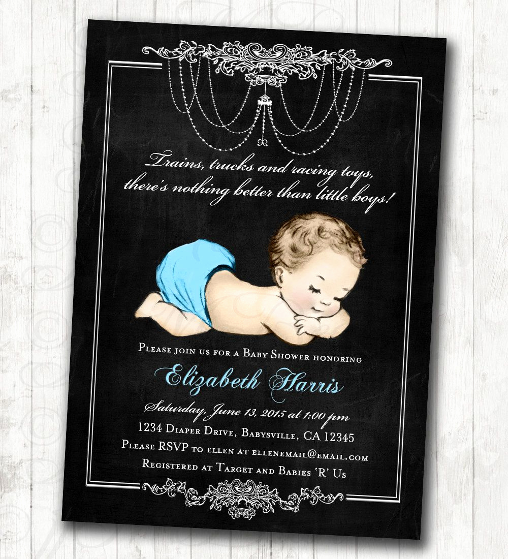 French Baby Shower Invitation Fresh Chalkboard Baby Shower Invitation for Baby Boy Blue