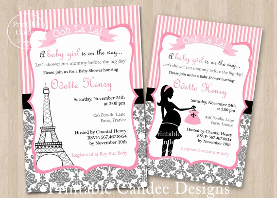 French Baby Shower Invitation Fresh Paris French Baby Shower Invitation Custom Printable On