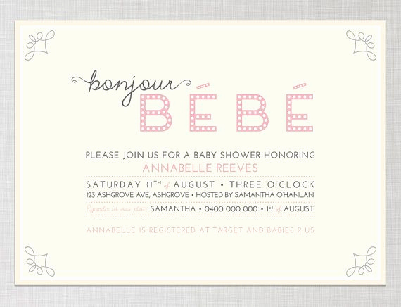 French Baby Shower Invitation Inspirational French Baby Shower Invitation In Pink Bonjour Bebe