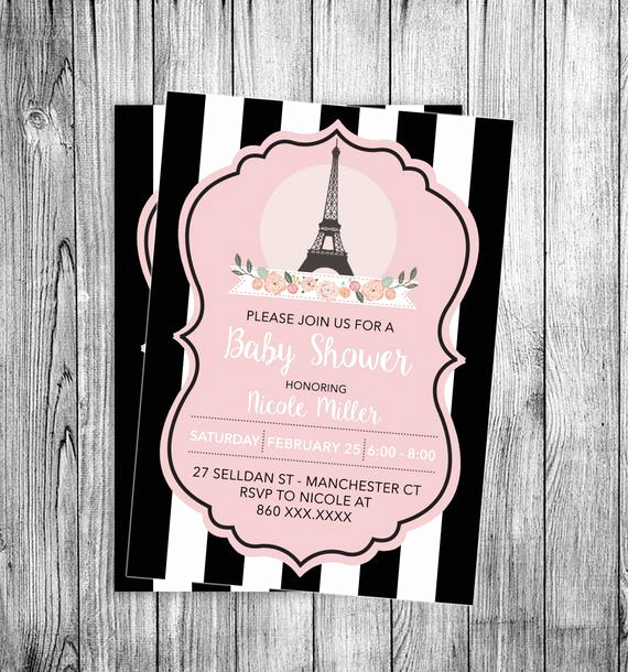 French Baby Shower Invitation Lovely Paris Baby Shower Invitation Eiffel tower Bebe soiree Invite