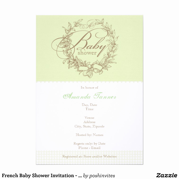 French Baby Shower Invitation Unique French Baby Shower Invitation Green