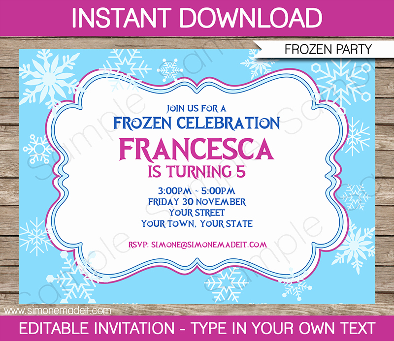 frozen invitation template birthday party