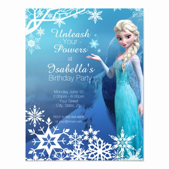 Frozen Birthday Party Invitation Template Fresh Frozen Elsa Birthday Party Invitation
