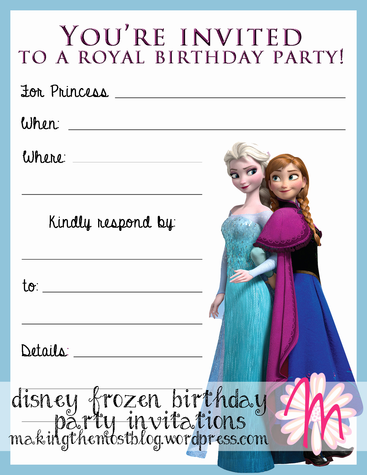 Frozen Birthday Party Invitation Template New Printable
