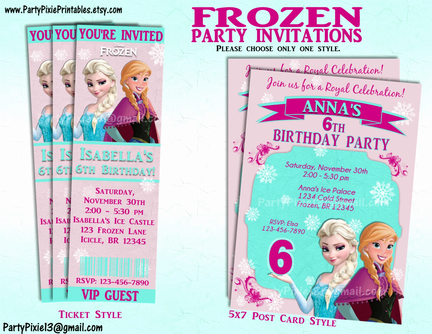 Frozen Invitation Printable Free Luxury Disney Frozen Party Invitation and or Party Package Printable
