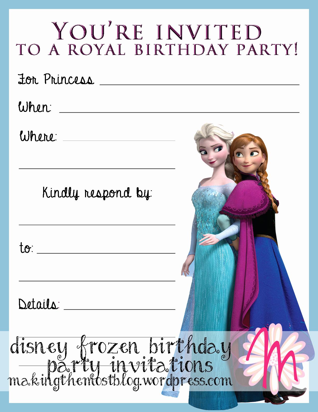 Frozen Invitation Printable Free New Printable
