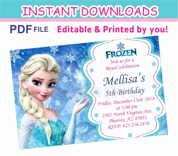 Frozen Invitation Template Free Download Inspirational Editable Pdf Instant Download Frozen Invitation First