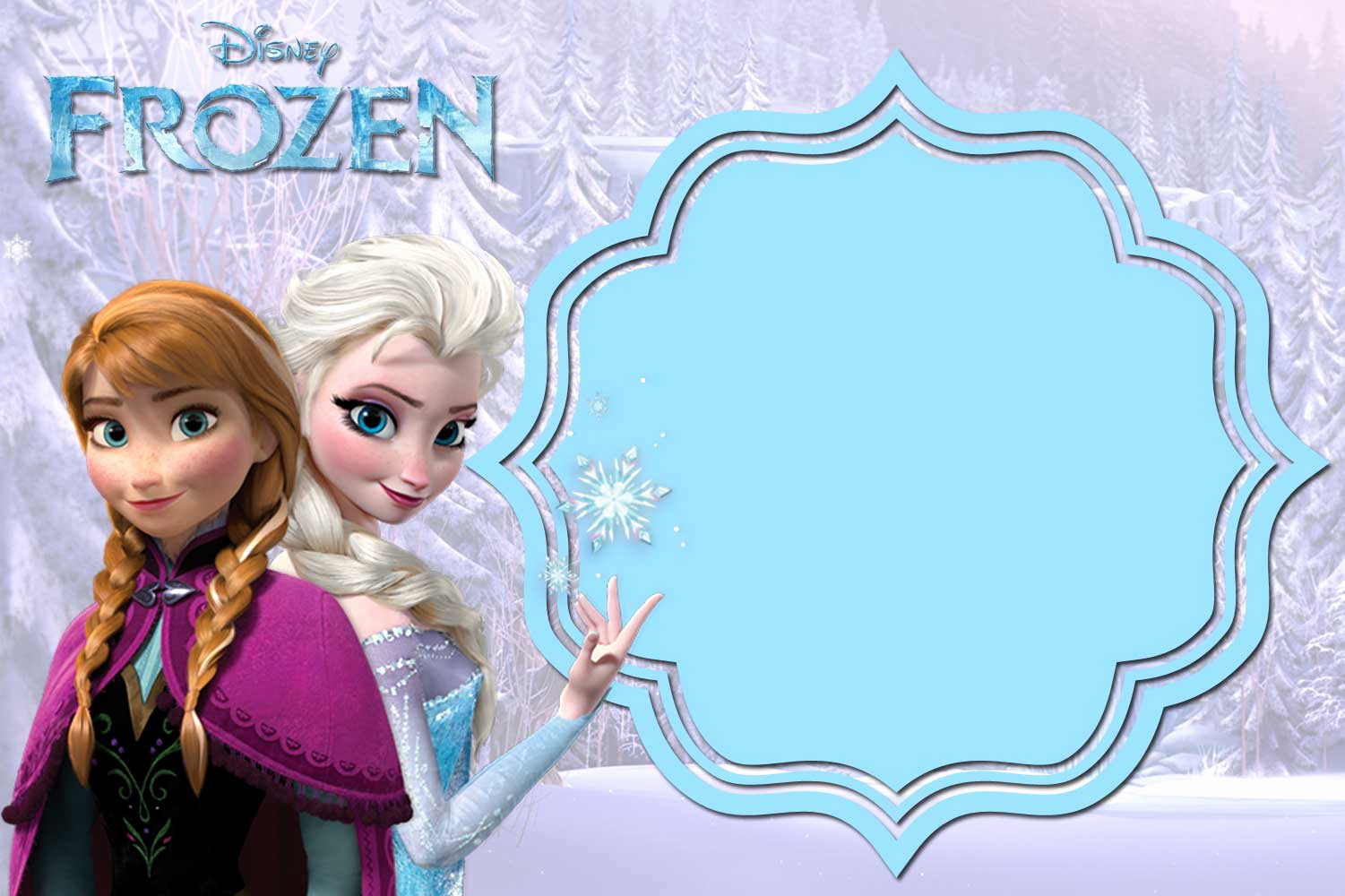 Frozen Invitation Templates Free New Free Printable Frozen Anna and Elsa Invitation Templates