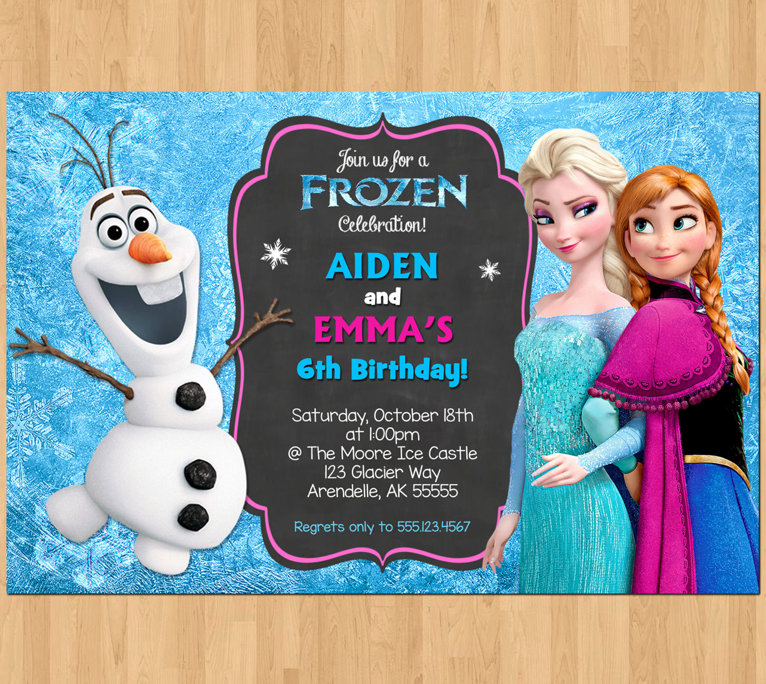 Frozen Party Invitation Templates Best Of Sibling Birthday Invitation Frozen Invitation Olaf Elsa Anna