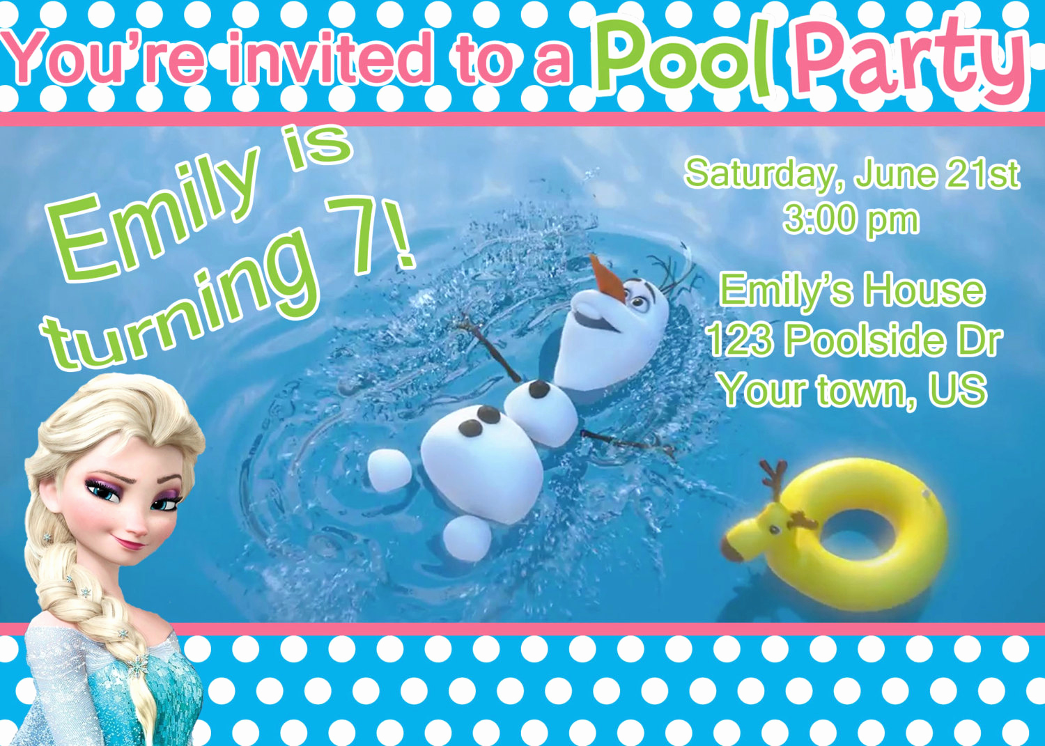 Frozen Party Invitation Templates Elegant Frozen Pool Party Invitation Elsa by Designsbycarrielee On