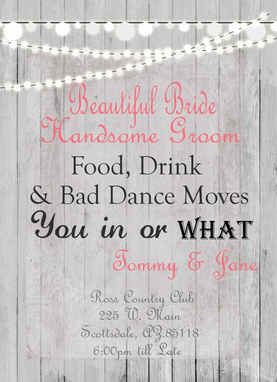 Fun Wedding Invitation Wording New Humorous Wedding Invitation Rustic Lights Digital File
