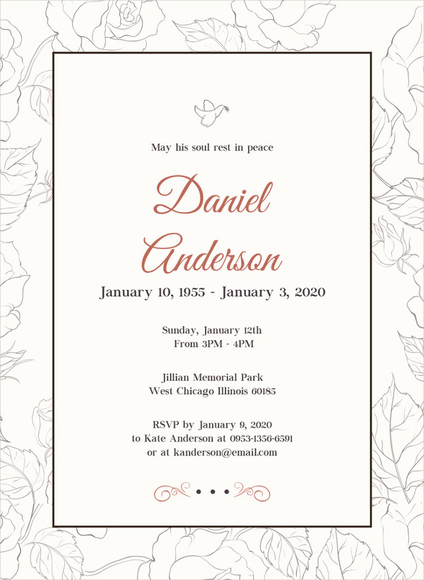 Funeral Invitation Template Free Awesome 28 Funeral Invitation Templates Psd Ai