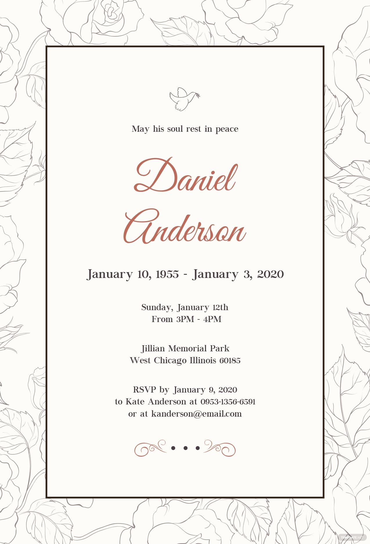 Funeral Invitation Template Free Fresh Free Simple Funeral Invitation Template In Psd Ms Word