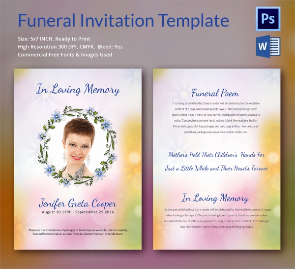 Funeral Invitation Template Free Fresh Sample Funeral Invitation Template 11 Documents In Word