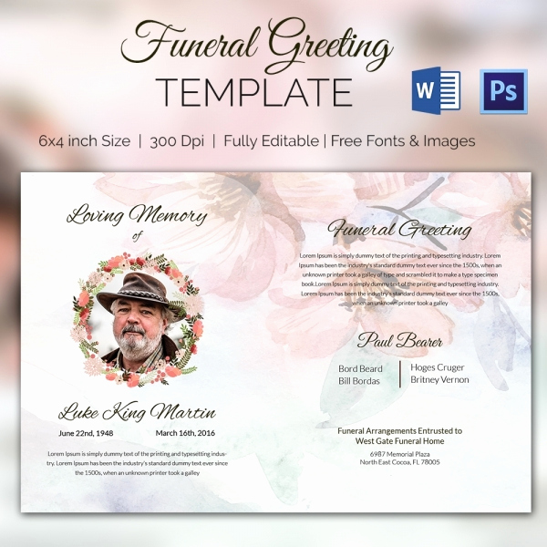 Funeral Invitation Template Free Lovely 15 Funeral Card Templates Psd Ai Eps