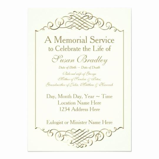 Funeral Reception Invitation Wording Awesome Elegant Golden Vintage Frame W 2 Memorial Service