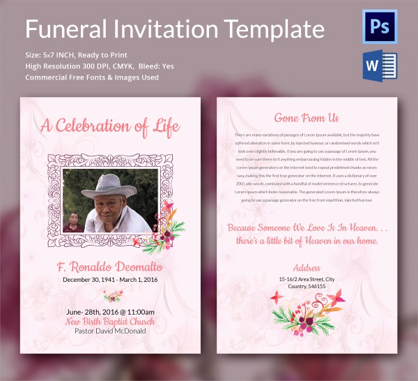 Funeral Reception Invitation Wording Beautiful Sample Funeral Invitation Template 11 Documents In Word
