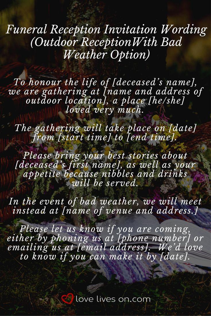 Funeral Reception Invitation Wording Luxury 35 Best Funeral Reception Invitations Images On Pinterest