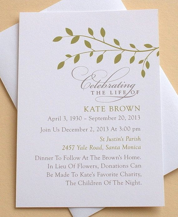 Funeral Reception Invitation Wording New Celebration Of Life Invitation with Green Leaves