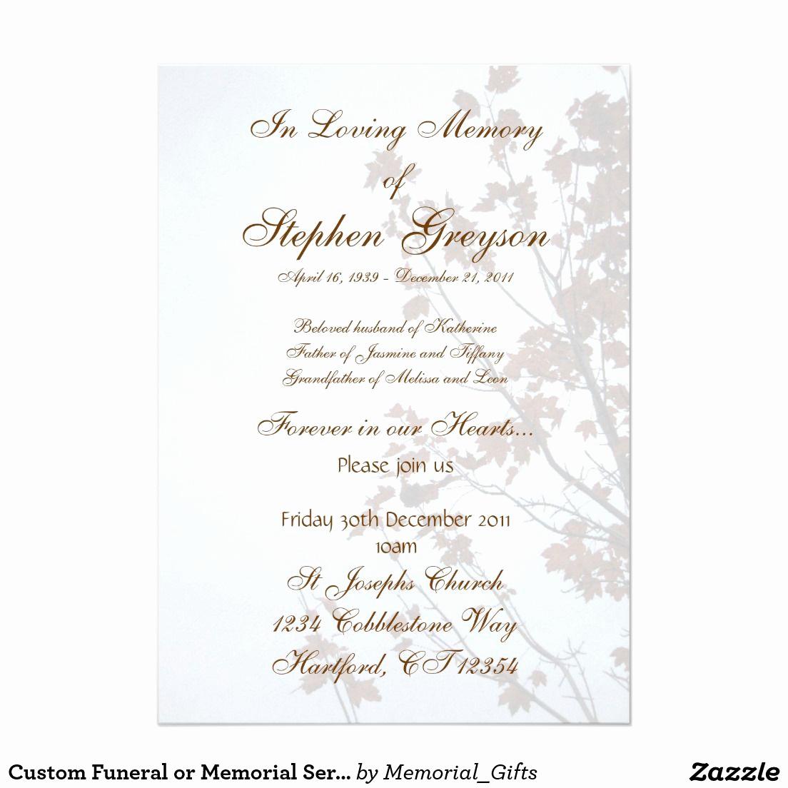 "Funeral Reception Invitation Wording Unique Custom Funeral or Memorial Service Announcement 5"" X 7"