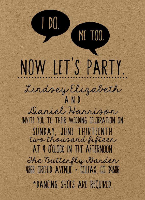 Funniest Wedding Invitation Wording Fresh Diy Wedding Invitation Suite I Do Me too Deposit