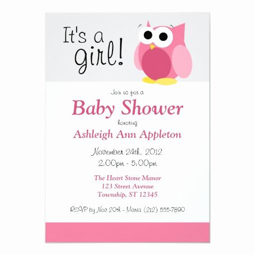 Funny Baby Shower Invitation Wording Fresh It S A Girl Funny Pink Owl Baby Shower Invitation