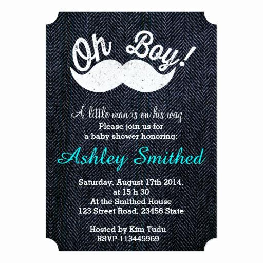 Funny Baby Shower Invitation Wording Inspirational Boy Baby Shower Funny White Mustache Blue Denim Card