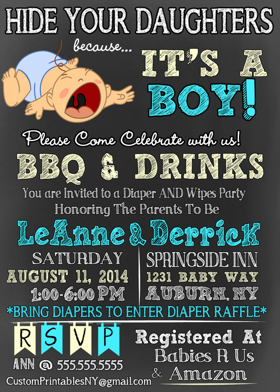 Funny Baby Shower Invitation Wording Lovely Hide Your Daughters because It S A Boy Baby Shower