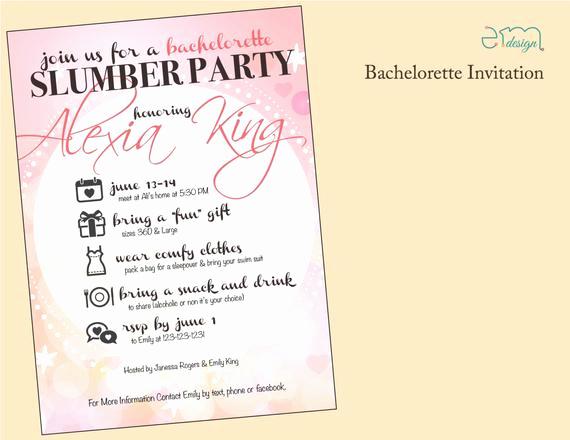 Funny Bachelorette Party Invitation Wording Best Of Girls Slumber Party Bachelorette Party by Emdesignwedding