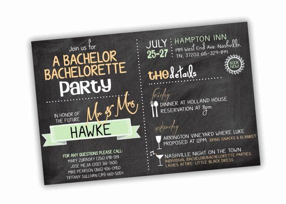 Funny Bachelorette Party Invitation Wording Inspirational Bachelor Bachelorette Party Invitation Customizable Colors