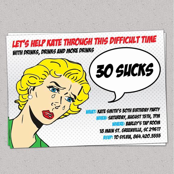 Funny Birthday Invitation Quotes Beautiful 30 Sucks Birthday Party Invitation Retro Pulp Woman Funny
