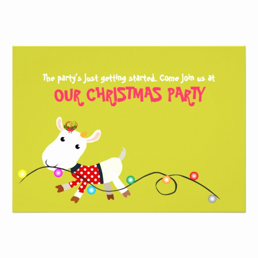 Funny Christmas Party Invitation Wording Luxury Funny Christmas Party Invitation Card Goat Kid