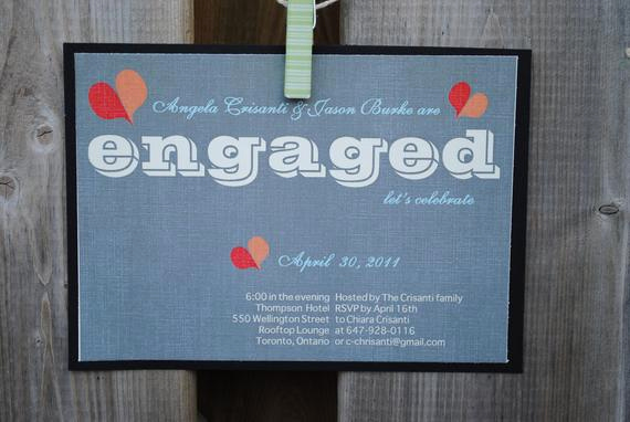 Funny Engagement Party Invitation Wording Beautiful Items Similar to Fun Hearts Engagement Party Invitation