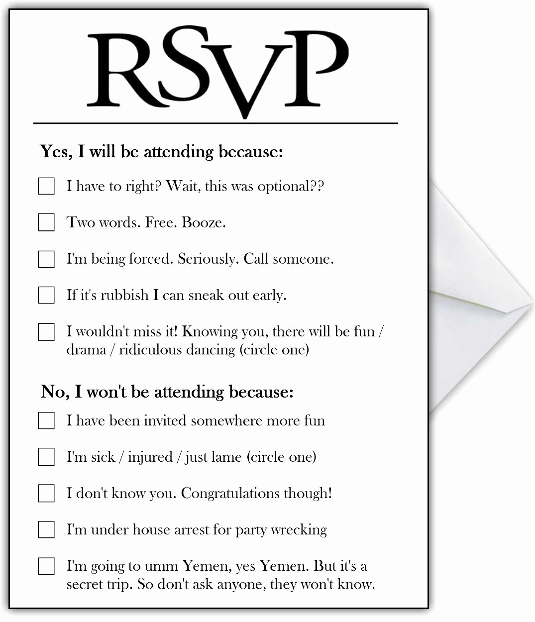 Funny Engagement Party Invitation Wording Best Of Rsvp Card with Hilarious Options or Add Your Own Funny